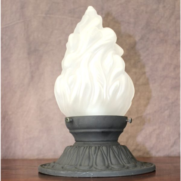 Cast Iron Ceiling Mounted Porch Light in Cast Iron 3.25″ Fitter Flame Shade