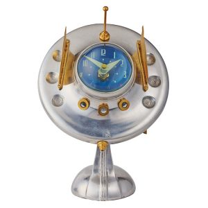 Sputnik Space Ship Table Clock oofo With Antenna Area 51 Style Fun Gift