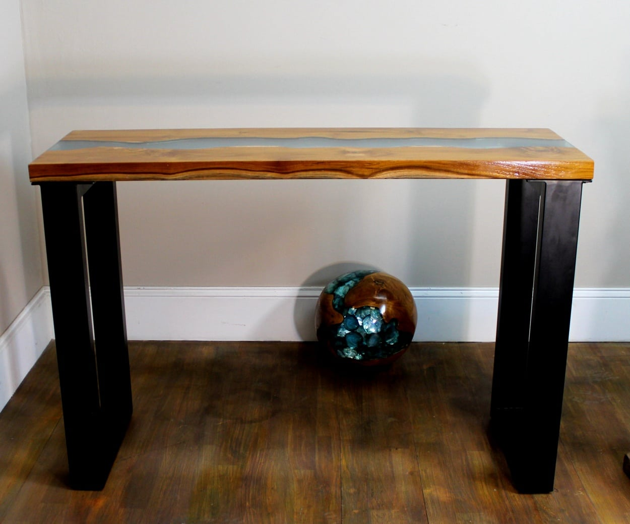 Table W Blue Lucite Stripe And Teak Wood W Modern Black Legs