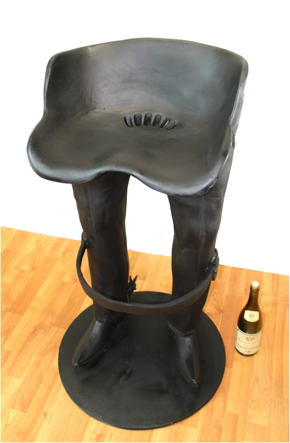 Fun cowboy bar stool w belt foot rest spurs boots western jeans chair pair the kings bay