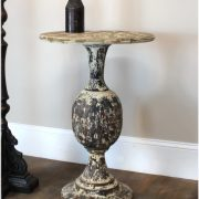 "French Country ""La Femme"" Hand Painted Round Ball Chic Side Table -The Kings Bay"