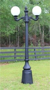Garden Commercial Pole Light with Two Arms Acorn or Ball Shades Antique Style