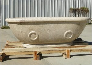 Solid Cream Beige Marble Chateau Bath Tub Hand Crafted in The Kings Bay Factory