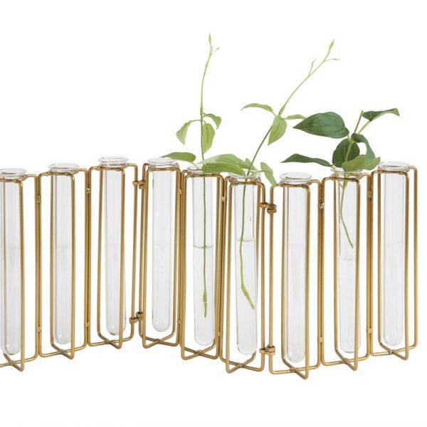 Glass Tubes Lined Up Flower Brass Hinged Holder for Garden Plant Lover