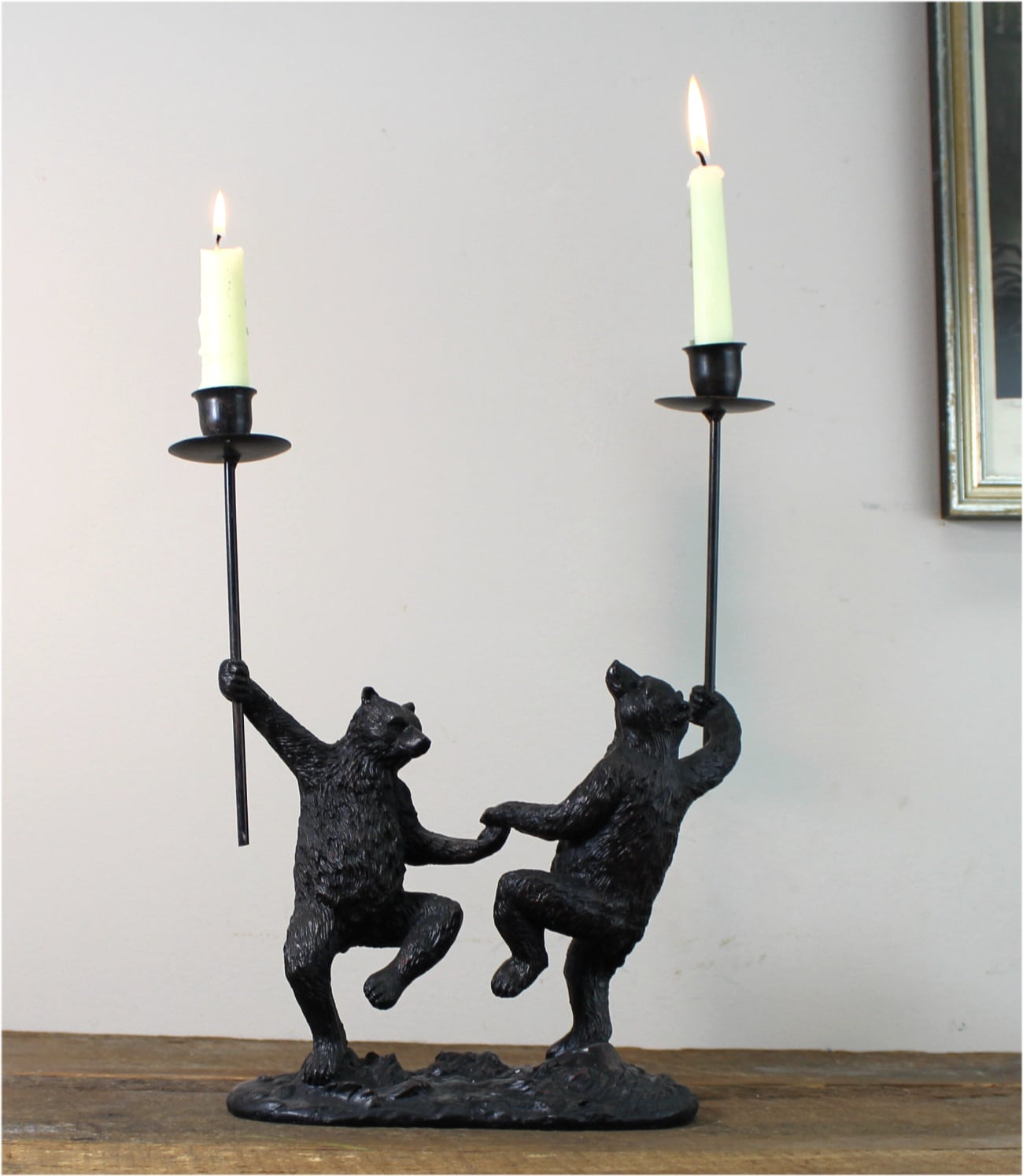 Dancing bears candle stick holder william beard bronze walnut finish