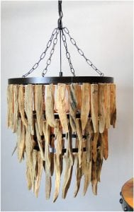 Large Driftwood Three Tier Chandelier with Iron Rings, Beach, Nautical Theme