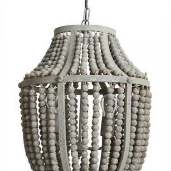 Gray aged iron and wooden bead chandelier hanging light fixture gray aged iron and wooden bead chandelier hanging light fixture aloadofball Image collections