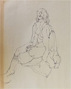 George Plante Nude Female Drawing on Aged Paper Pen and Ink Lovely Art