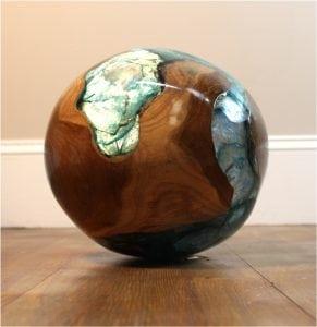 Teak Root & Blue Resin Lucite Plastic Round Ball Burl Shell Wood 20lb Rare