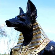 Ancient Egyptian Dogs Head Sculpture Statue 8 Foot Tall Gold Hieroglyphics