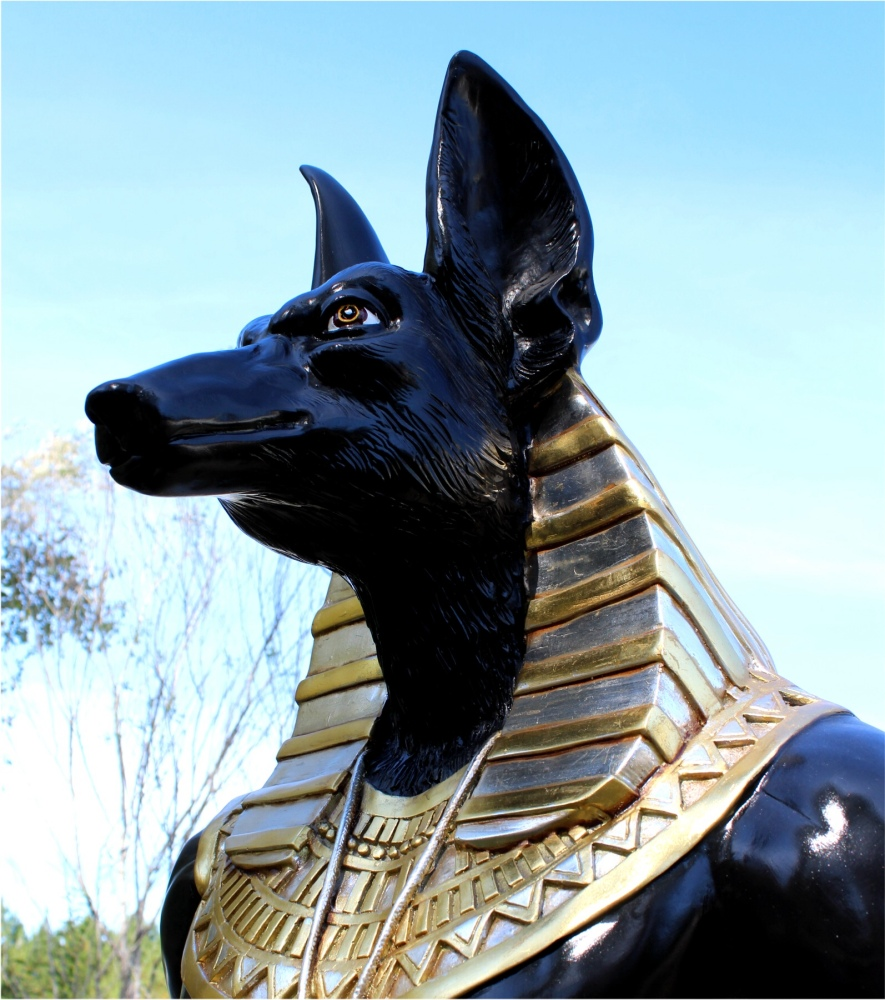 Antique Bars For Sale >> Ancient Egyptian Dogs Head Sculpture Statue 8 Foot Tall Gold Hieroglyphics - The Kings Bay