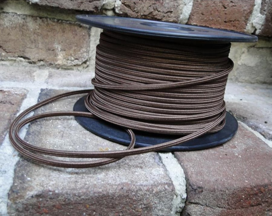 250 Ft Brown Rayon Cloth Electrical Wire Antique Old Cord