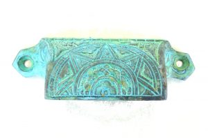Solid Brass Tiffany Green Finish Bin Pull Antique Hardware Victorian Vintage Style