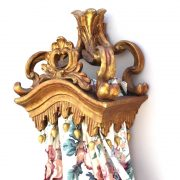 Gold Leaf Teester Crown with Tassel Bed Door Window Drapery Hardware