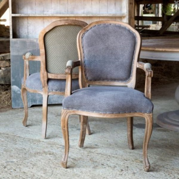 Grayline Dining Arm Chair in Blue Fabric and Gray Hand Painted Elm Wood Pair