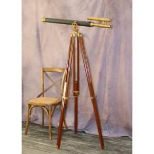 Big Two Scope Telescope Adjustable Stand w Leather & Brass 63″ Antique Replica
