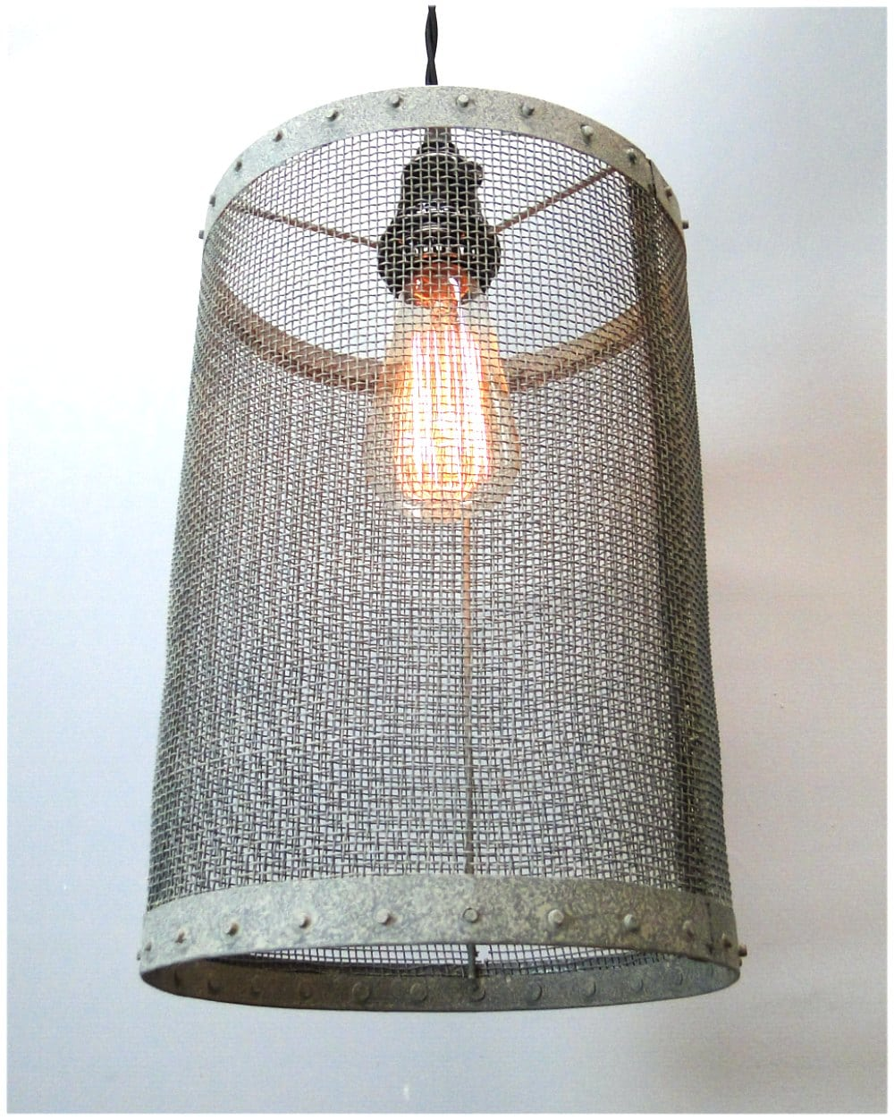 Mesh Wire Barrel Pendant Light Fixture Aged Galvanized Look Old Wiring A New To Fashioned Style Round
