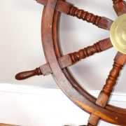 Big 35″ Ship Steering Wheel Wooden Antique Teak Brass Ship's Pirate Nautical