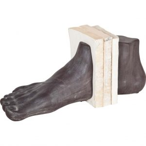 Big Large Ceramic Foot Bookends w Dark Grey Aged Pair of Feet Book Ends