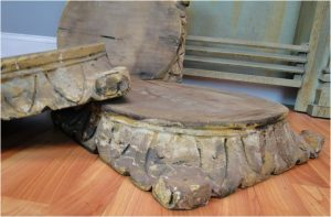 Aged Wooden Hand Carved Pillar Base for Display or Furniture Piece Lovely