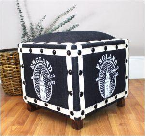 Denim ENGLISH British Ottoman Footstool Old Fashioned Furniture Stool