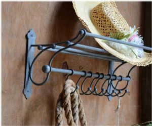 Train Rack Shelf w Hooks Clothes and Suitcase Top Bathroom Fixture Old Hardware