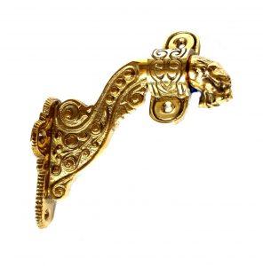 Gargoyle Dragon Lion Face Hand Rail Bracket Polished Brass Vintage Style