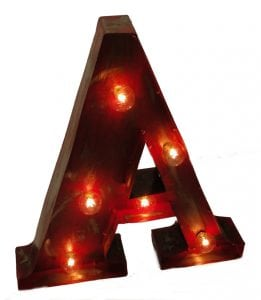 "Old Style Tin Metal ""A"" Lighted Sign Business Message"