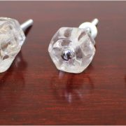 1″ CLEAR Glass Cabinet Knobs Pulls Vintage Dresser Drawer Hardware