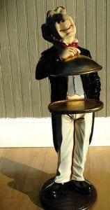 Gold Server Tray Waiter Butler Statue for Buffet Table Restaurant Kitchen Decor