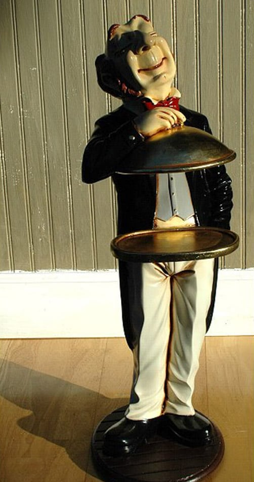 Gold Server Tray Waiter Butler Statue For Buffet Table