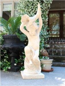 Garden Statue Boy Cherub w Horn Stone Sculpture 40″ Tall