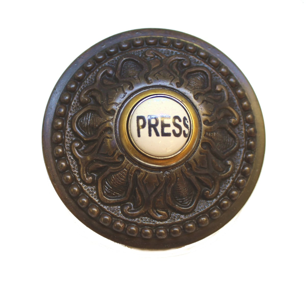 Superieur Round PRESS Porcelain Door Bell Button Electric Brass Old Style Aged Bronze    The Kings Bay