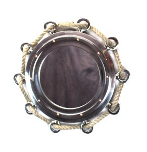 Big Silver Finish Porthole Mirror with Rope Nautical Ships Boat Decor