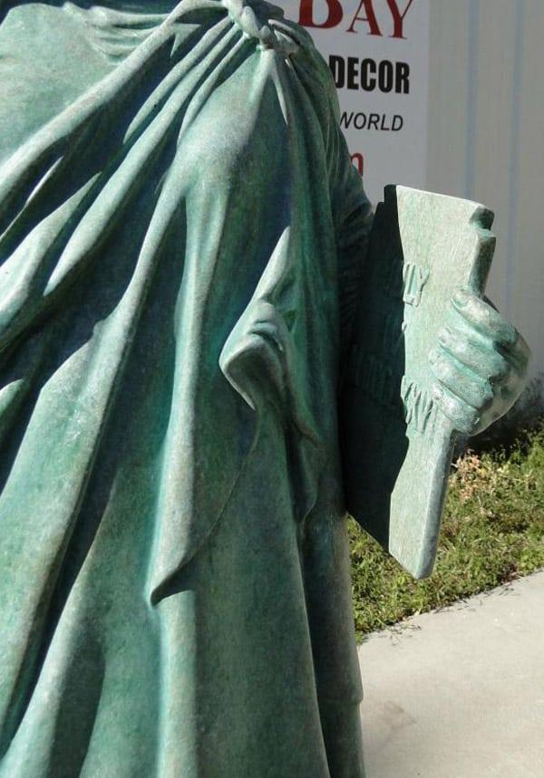 Statue Of Liberty Sculpture W Tiffany Green Finish Faux