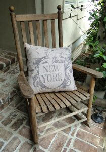 Big New York Pillow Vintage Style Antique Letters for City or Cottage Chic Decor