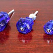 1.5″ Cobalt BLUE Glass Cabinet Knobs Pulls Vintage Dresser Drawer Hardware