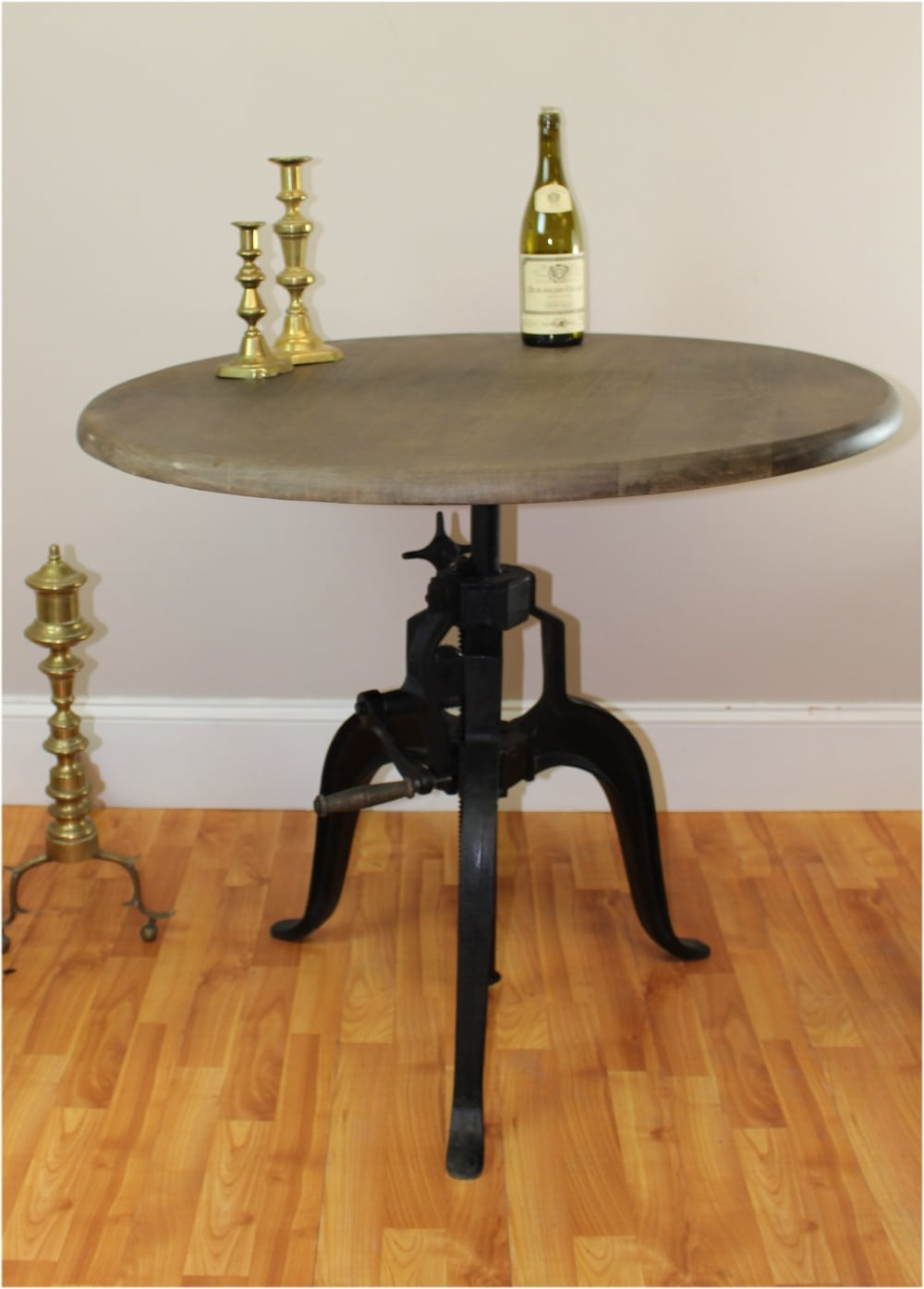 Iron Crank Vintage Side TABLE OLD FASHIONED Factory Industrial Hand - Old fashioned side table