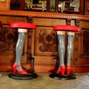 Sexy Bar Stools High Heels & Perfect Legs in Stockings Red Vinyl Seat Metal Pair