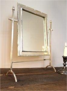 Silver Bedroom Bathroom Mirror Swivel Mount Bamboo Edge SALE!