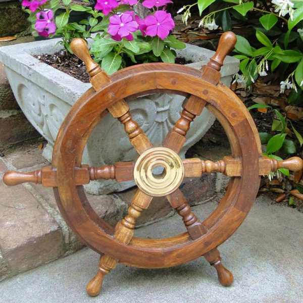 30″ Ship's Wooden Steering Wheel Teak and Brass Nautical Home Furniture
