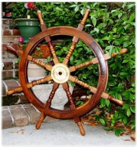 Big 35″ Ship Steering Wheel Wooden Antique Teak Brass Ship's Pirate Nautical