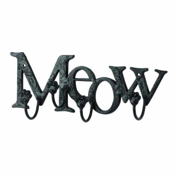 MEOW Cat Kitten Lovers Metal WALL HOOKS, Written Letters, Animal Paw Prints rack