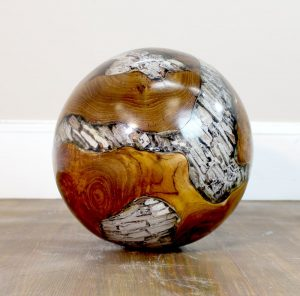 Teak Root & Clear Lucite Plastic Round Ball 20lb Wood Rare Accent -The Kings Bay