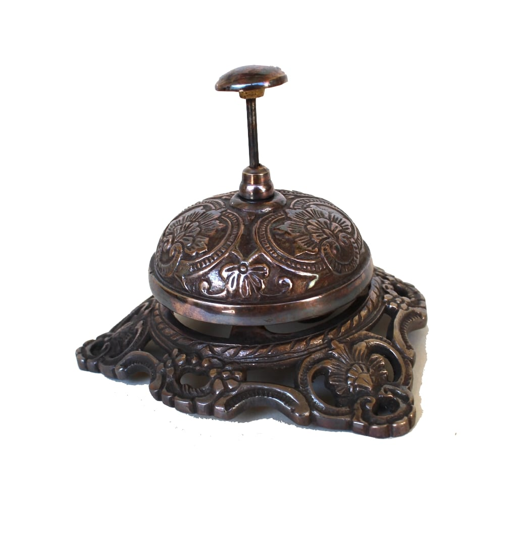 Old Fashioned Antique Replica Solid Brass Front Desk Retail Counter Bell W Bronze Finish