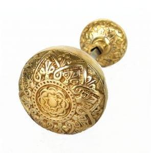 Vintage Brass Victorian Spade Polished Brass Arts and Crafts Style Door Knob Pr