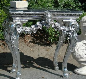 Antique Style Victorian Silver Faux Marble Top End or Side TABLE, vintage store fixture
