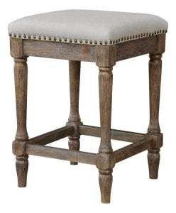 Kitchen Counter Stool Vintage Style Linen Fabric Seat Oatmeal Color