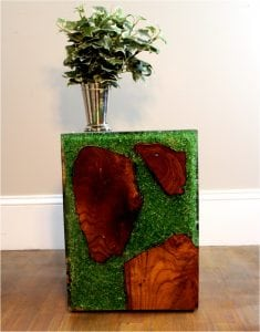 Green Resin Lucite and Teak Root Wood Cube End Side Night Stand Table rt3