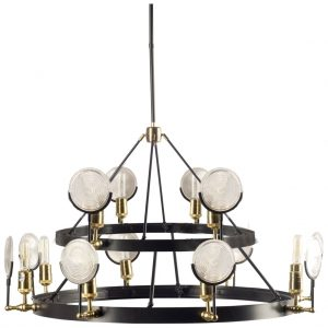 EmporiumTwo Tier Gas Light Chandelier w Light House Magnifying Round Ribbed Glass
